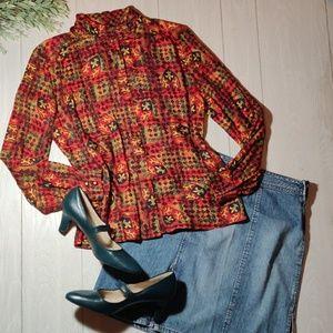 PENDLETON petite mandarin collar crest blouse